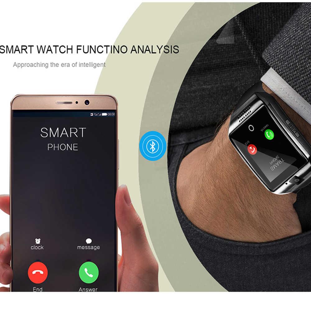LEMFO بلوتوث ساعة ذكية الرجال Q18 مع شاشة تعمل باللمس بطارية كبيرة دعم TF بطاقة Sim كاميرا أندرويد الهاتف Smartwatch