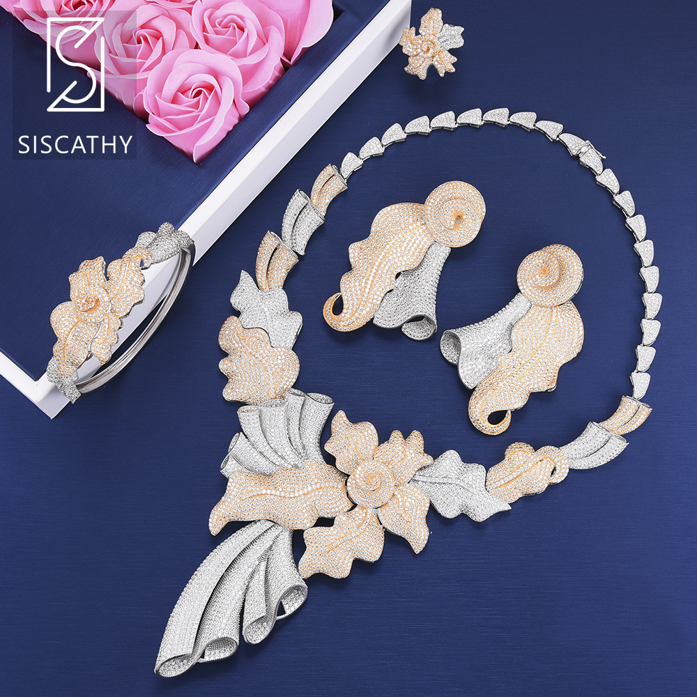 4 PCS Luxury bridal jewelry sets Big Leaves Shape Collar Necklace Dangle Earrings Bangle Ring Wedding Engagement Jewelry Sets