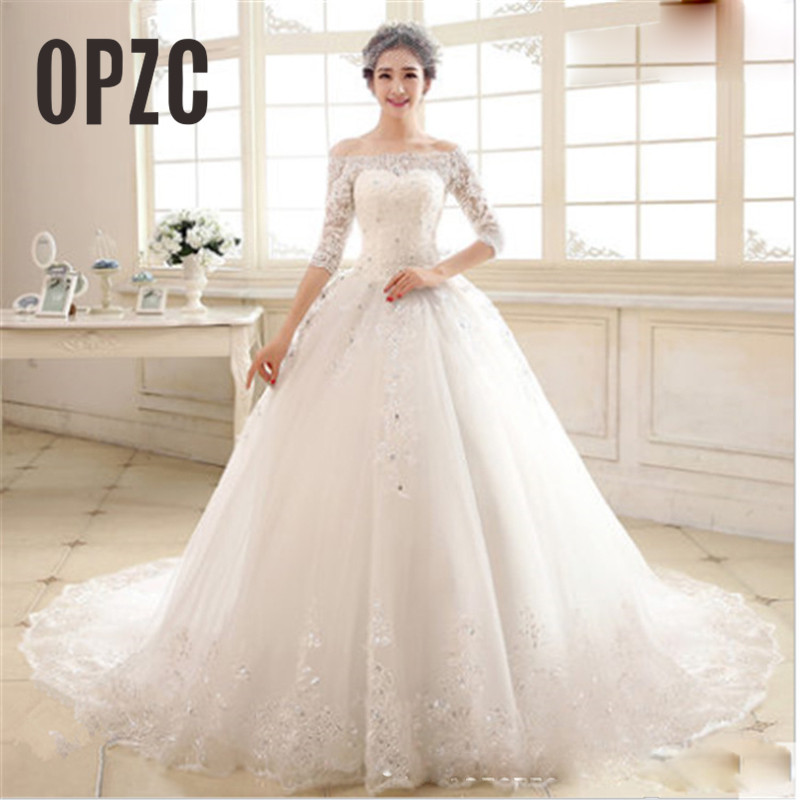 Luxury 2018 New Winter Sexy Boat Neck Half Sleeve Wedding Dress 80cm Tail Prinecess Wedding Gown Vestido De Noiva Tull Sequined-in Wedding Dresses from Weddings & Events
