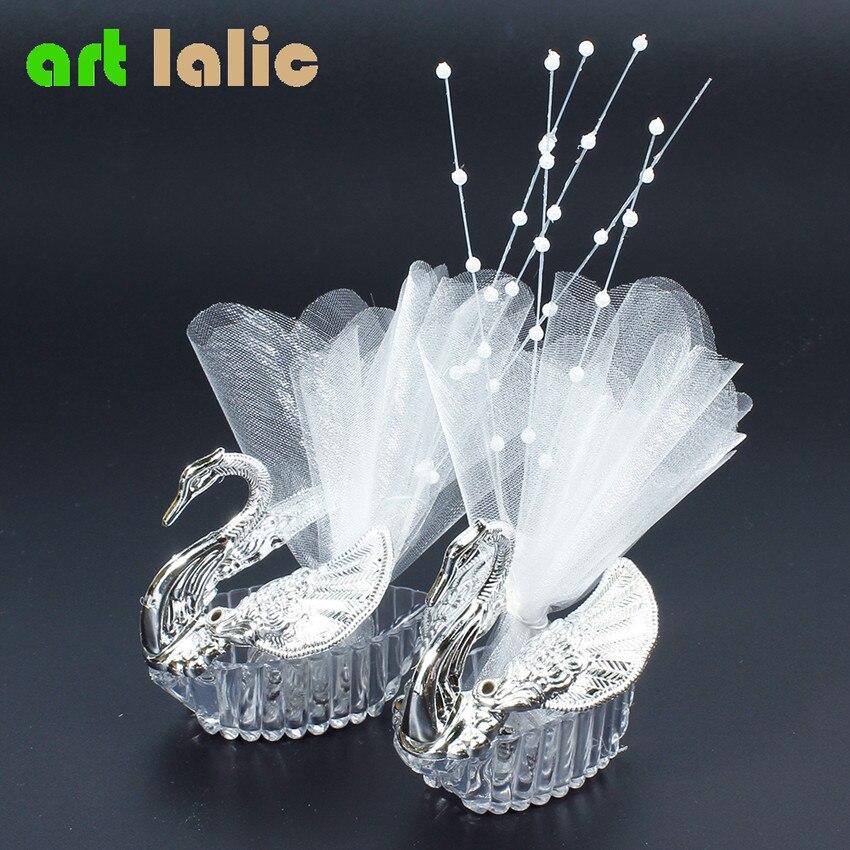 Swan Wedding Gift Return: 10pcs European Romantic Swan Wedding Favor Gift Box Candy