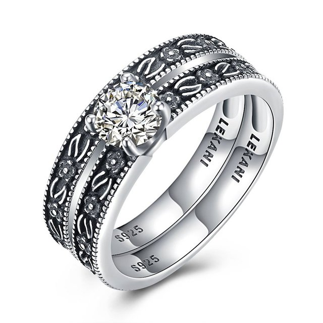 1 Set 2 Pcs Unique Design 925 Sterling Silver Wedding Ring Set