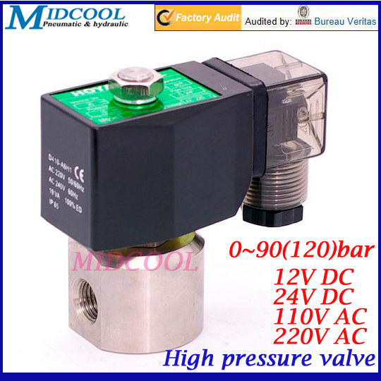 Stainless steel high pressure solenoid valve 1/4 2 way normally close 12V DC 0-90(120) bar rice cooker parts steam pressure release valve