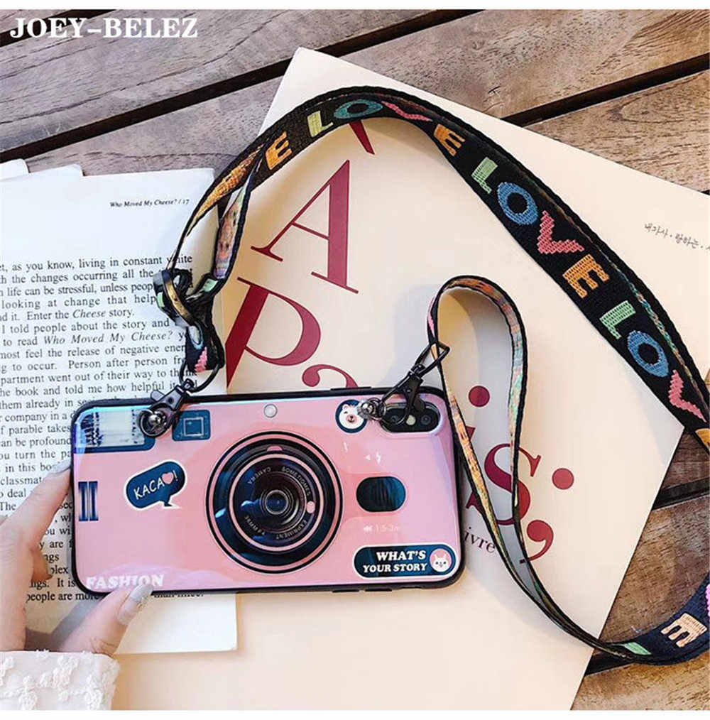 Retro Camera Case For Samsung Galaxy A50 A30 A70 A750 M10 M20 Soft Cover with Lanyard For Galaxy S8 S9 S10 Plus S7 A8s A9s Case