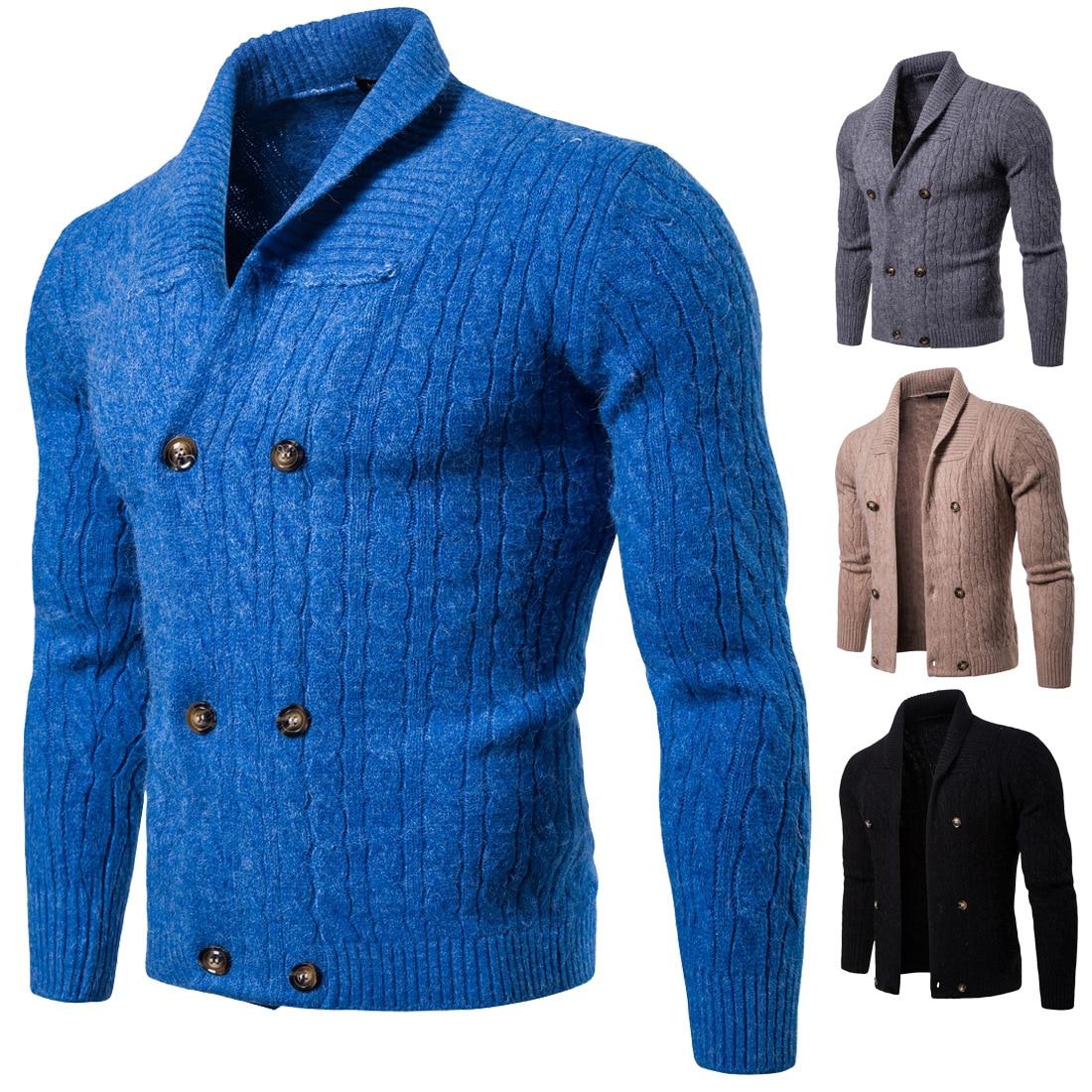 Hommes hiver chandail col en v solide Slim Fit tricot hommes chandails Cardigan mâle 2018 automne décontracté hauts manteaux d'hiver