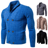 Men's Winter Sweater V Neck Solid Slim Fit Knitting Men's Sweaters Cardigan Male 2018 Autumn Fashion Casual Tops Winter Coats