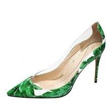 цена Dropshipping PVC Transparent Fashion Women Shoes Ladies Slip On Sexy Thin High Heels Pointed Toe Wedding Shoes Party Pumps D035A онлайн в 2017 году