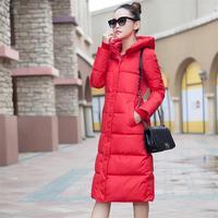 새로운 패션 농축 큰 크기 따뜻한 슬림 후드 긴 여성 다운 재킷 코트 모피 패딩 겨울 재킷 파카 눈 착용