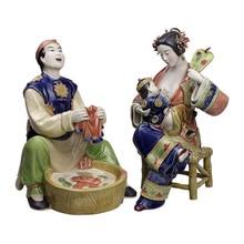 Ceramic Sculptures Chinese Traditional Collectibles Couple Dolls Antique Statues Porcelain Glazed Figurine Christmas Art недорго, оригинальная цена