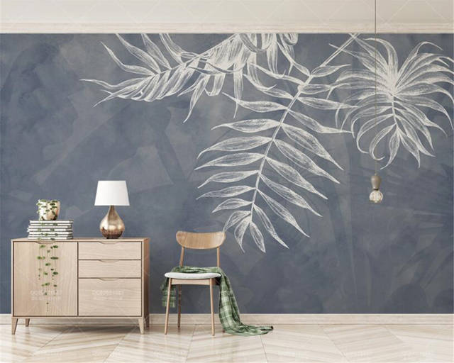 Us 8 85 41 Off Custom Any Size Wallpaper Modern Style Leaf Texture Bedroom Master Bedroom Bed Background Wall 3d Wallpaper Behang Beibehang In