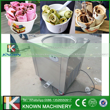 Single round pan of fried ice cream machine roll / ice cream roll machine with import compressor (Free shipping by sea)