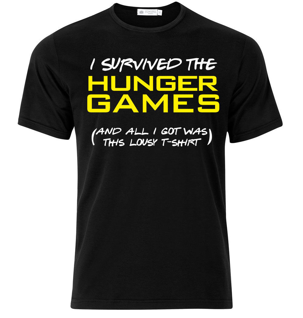 T-shirt Uomo I Survived The Hunger Games and All I Got Was This Lousy Short Sleeves Cotton Fashion T Shirt Free Shipping