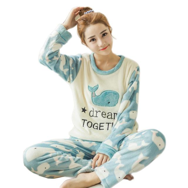 2017 Otoño Invierno Para Mujer Pijama de Manga Larga Pijamas de Las Mujeres ropa de Dormir de Franela Gruesa niñas ropa de dormir para la mujer