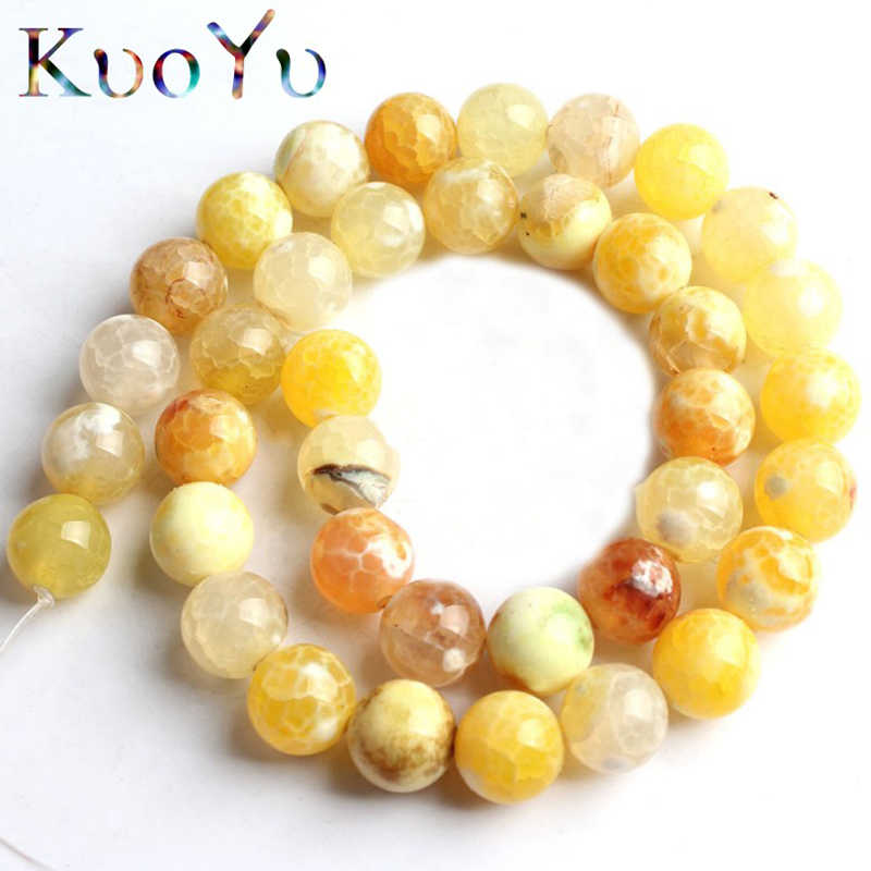 Natural Stone Yellow Fire Agates Onyx Round Loose Beads For Jewelry Making 15''Strand 6/8/10mm Pick Size DIY Bracelets Necklaces