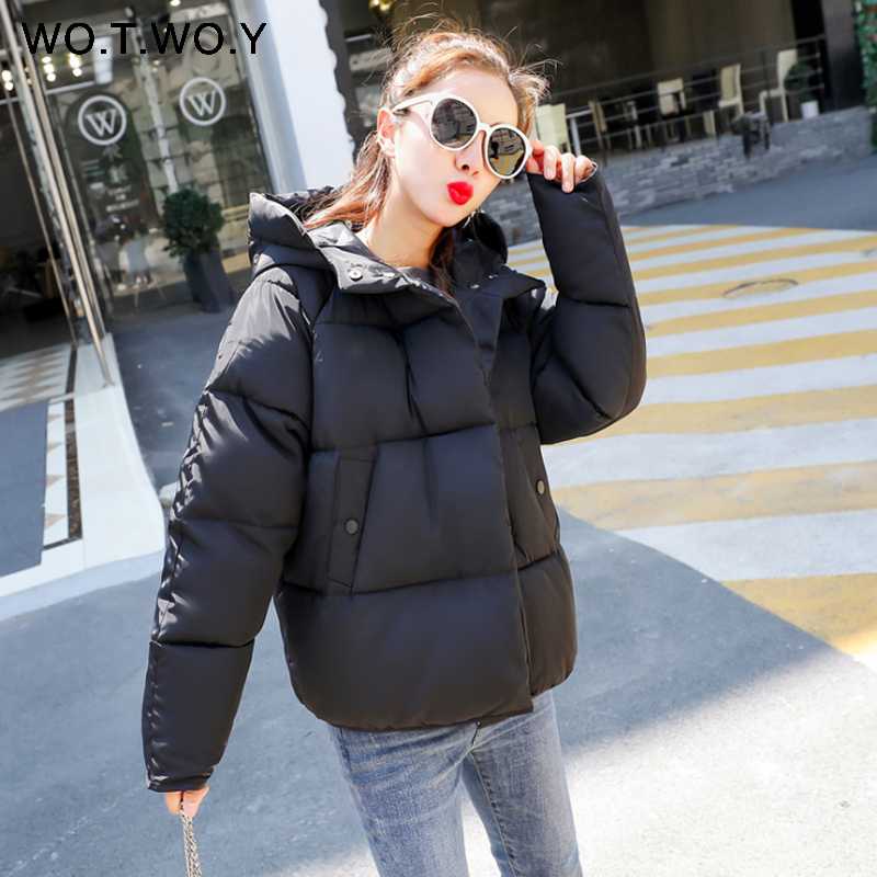 WOTWOY 2018 New Winter Cotton Jacket   Parka   Women Casual Basic Plus Size Thick Warm Hooded Coat   Parkas   Women Wadded Pink Overcoat