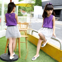 2017 Summer Girls Clothing Sets Sleeveless Girls Solid Shirts Skirts Suits For Outfits Children Cotton Clothing
