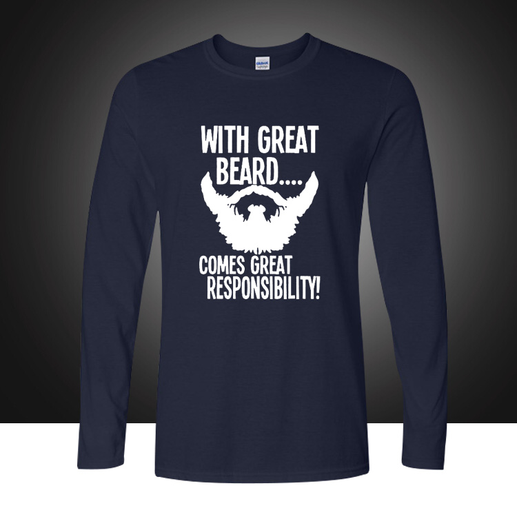 Fathers Day Gift for Dad Long Sleeve TShirt With Great Beard Comes Great Responsibility Birthday Anniversary Tee Loose Plus Size