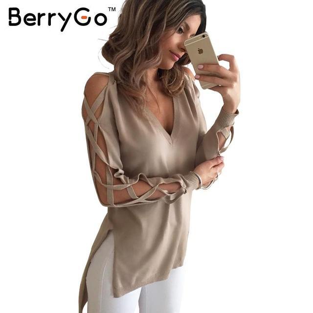 BerryGo выдалбливают крест рукава сплит свитер женщин Сексуальный v шеи chic вязаные пуловеры Зима осень черный случайные топы женские