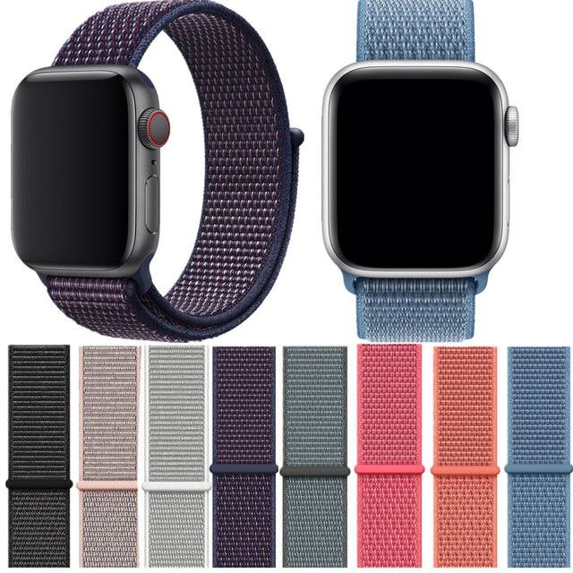 Мягкий легкий дышащий материал нейлон Спортивный ремешок для часов для Apple Watch 4 серии 3/2/1 Ремешок Браслет 38 мм 42 мм 40 мм 44 мм ремешки