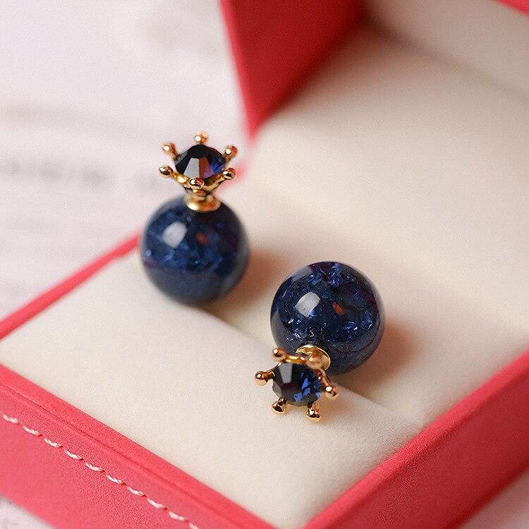 2018 Korean Fashion Double Sided Stud Earings For Women Lovely Crystal Crown Crack Pattern Beads Earrings for Women Wedding Gift