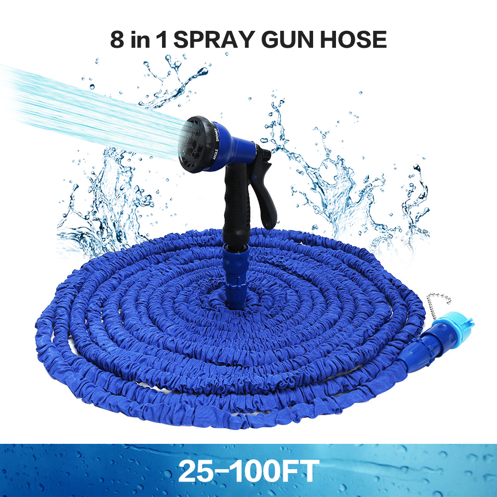 Hot Selling 100FT Expandable Magic Flexible Garden Water Hose For Car Hose Pipe Plastic Hoses To Watering With Spray Gun BLUE manguera expandible