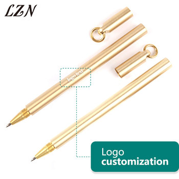 LZN Luxury Gold Pen Handmade Copper Signature Pen Ultra-fine Writing Stationery Pen Free Engrave Name/Date/Text as Wedding Gifts