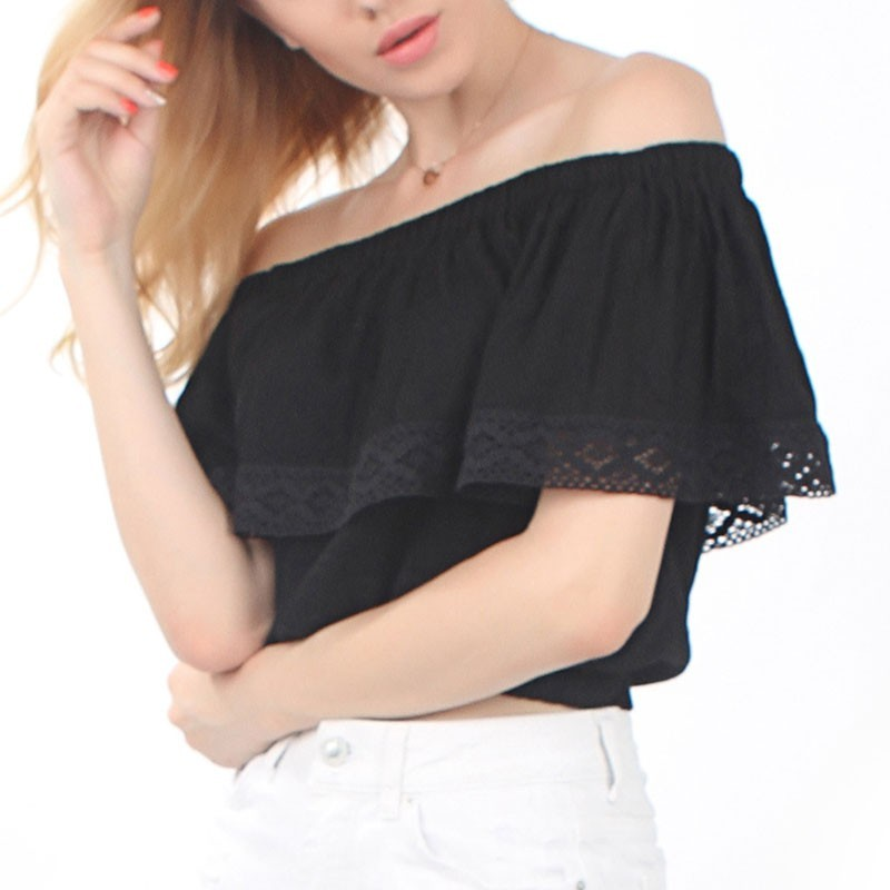 Summer New 2018 European Women Blouses Sexy Off Shoulder Lace Patchwork Shirts Casual Fashion Slash Neck Blusas Femininas