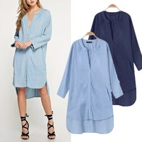 ZANZEA 2017 Women Denim Shirt Dress Summer Autumn Irregular Shirt Dress Long Sleeve Sexy Midi Dress