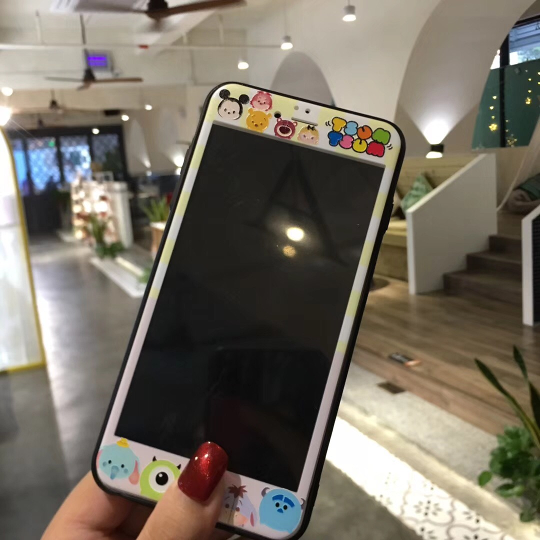 For iPhone 6 6S Plus 8 7 Plus Tempered Glass 3D Front Screen Protector Mickey Minnie Unicorn One Piece Stitch Pattern