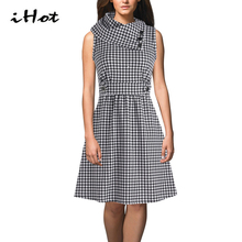 IHOT Sleeveless Swing dress Woman runway fashion 2016 high quality Plaid Tartan Bow Neck Retro Party Casual vestidos mulher