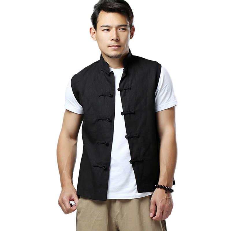 LZJN 2020 männer Sommer Weste Chinesischen Stil Vintage Atmungsaktive Leinen Taste Unten Kung Fu Hemd Ärmellose Weste Jacke