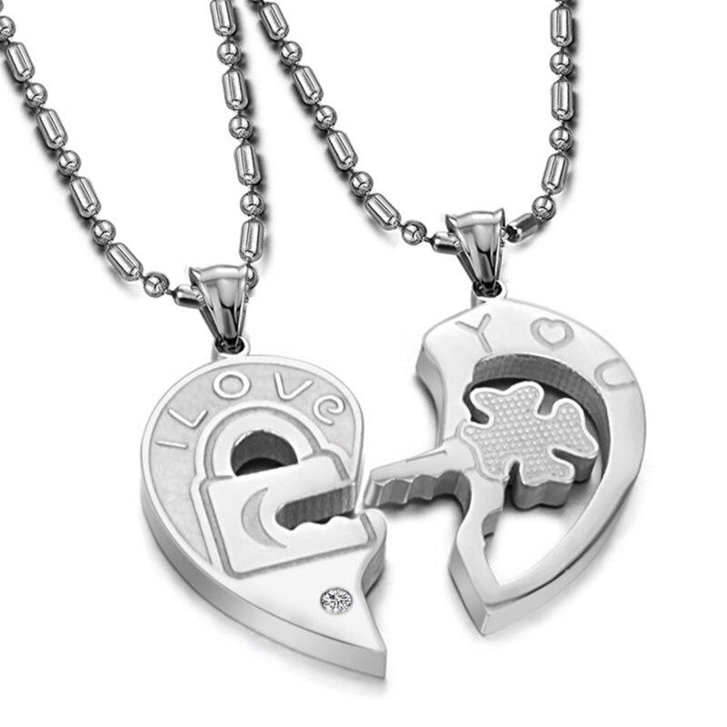 3121f4f7b55a 1 par moda de San Valentín amor usted llave parejas de titanio Acero  inoxidable corazón Collares para Mujeres Hombres   cx17