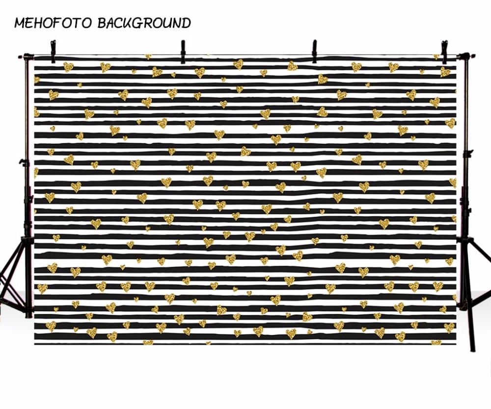 MEHOFOTO Black and White Stripes Photography Backdrops Photo Studio 7x5ft Children Gold Heart Photo Background Vinyl Cloth shengyongbao 300cm 200cm vinyl custom photography backdrops brick wall theme photo studio props photography background brw 12