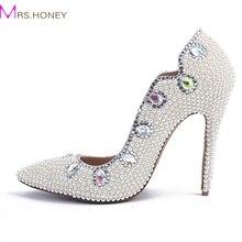 Freies Verschiffen Größe 34-41 Frauen Perle Hochzeit Schuhe spitz echtem Leder komfortable Brautkleid Schuhe Party Prom Pumpen