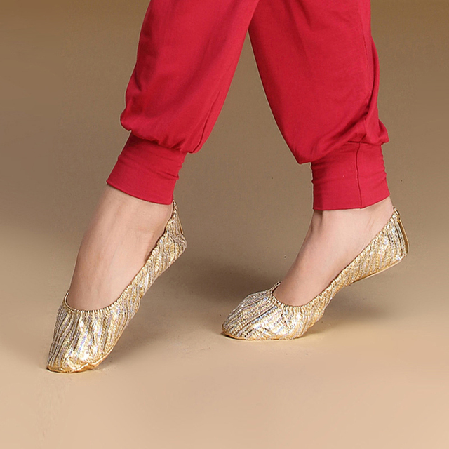 58cf91829 Wholesale Women Belly Dance Accessory Practice Gold Flats Soft ...