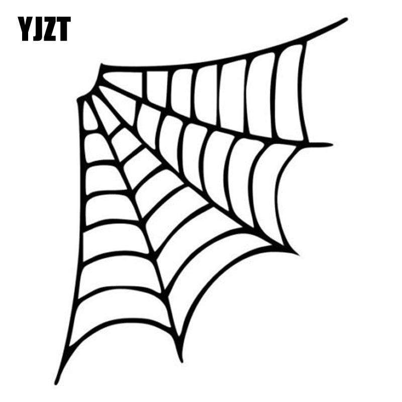 YJZT 12.8*16CM Cartoon Personality SPIDER WEB Car Sticker Vinyl Decal Black/Silver S8-1320