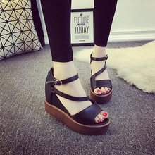 2016 summer women students flat wedge thick muffin peep toe sandals buckle hollow out PU fashion sexy designer sandals shoes