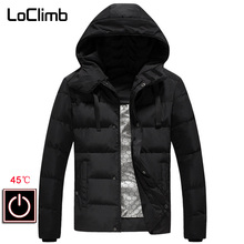 цена LoClimb Outdoor Hiking Heated Jacket Men Winter Warm Trekking Cotton Coat Male Waterproof Ski Jackets Men's Windbreaker AM361 онлайн в 2017 году