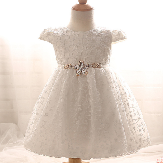New Arrival Lolita Baby Girl Dress Flowers Solid Girls Clothes Newborn Bow Infant Dresses 1 Year Birthday Dress For Baby Girl