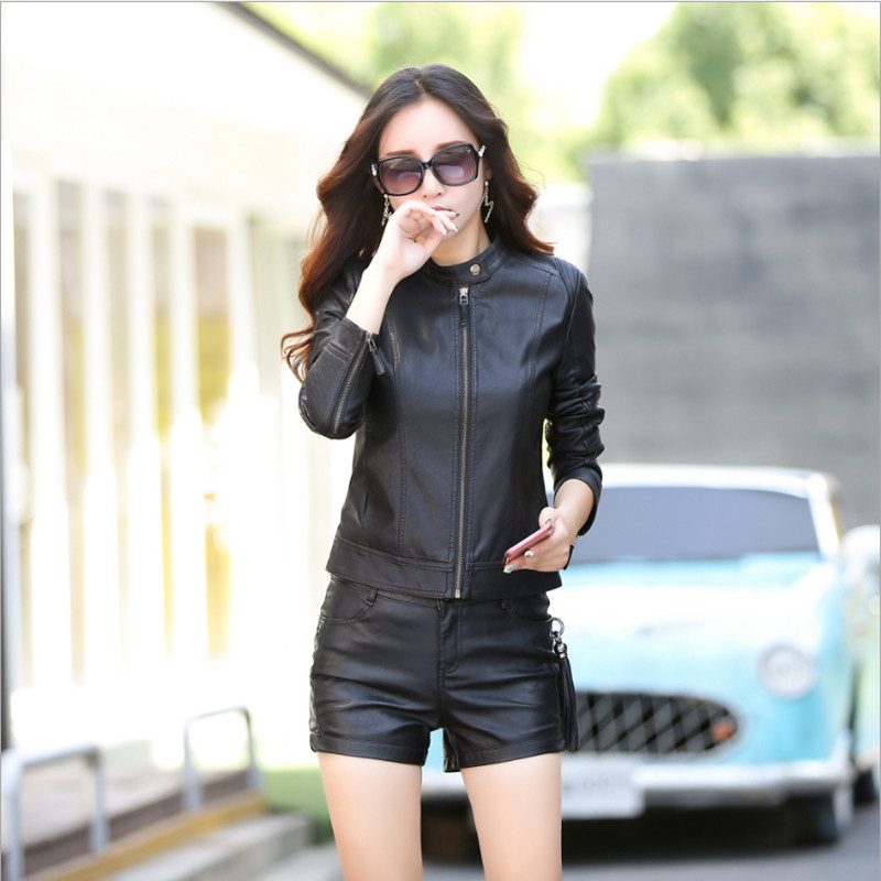 Women's Spring   Leather   Jacket Casual Fashion Stand Collar High Quality Pu   Leather   Coat Female Jackets Women M L XL XXL 3XL