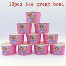 10pcs/lot Sofia Theme Ice Cream Cups Baby Shower Party Supplies Bowl Disposable Birthday Decor