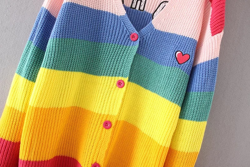 Danjeaner V Neck Single Breasted Knitted Cardigans Women Harajuku Rainbow Stripes Letter Long Sleeve Sweaters Streetwear Jumpers 8