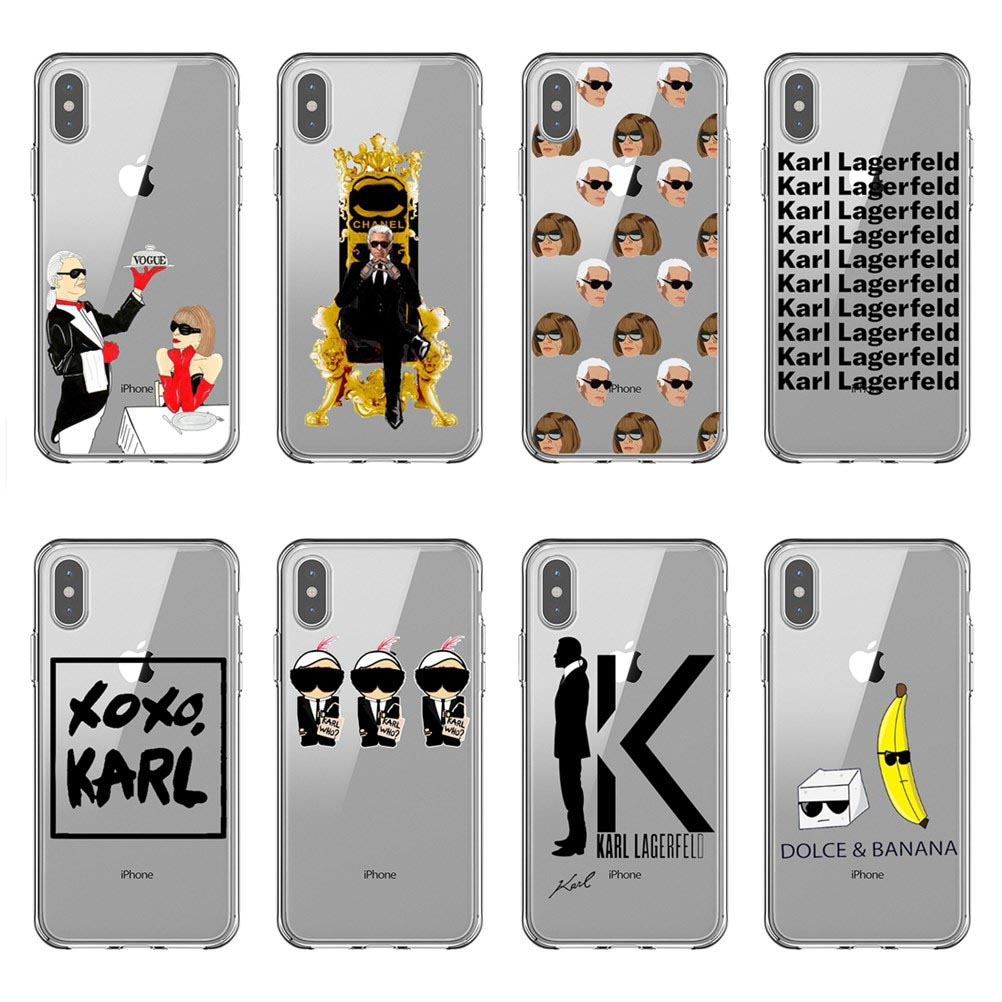 Karl Lagerfeld TPU Soft Silicone Phone Case For Coque iPhone xr 7Plus 6 6s 8 8Plus