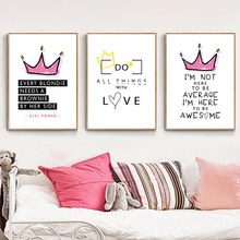 Pink Nursery Cartoon Girl Wall Picture Posters and Prints Crown Baby Room Modern Canvas Painting Kids Children Art Decor