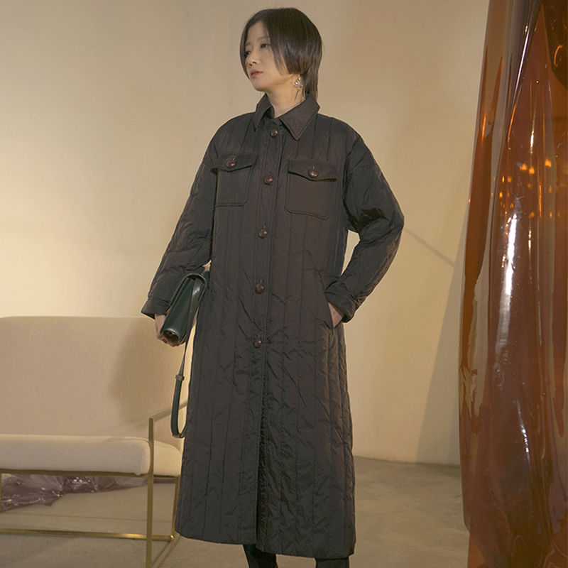 YNZZU Original Design 2018 Winter Jacket Women Solid Vintage Long 90% White Goose   Down     Coat   Women Loose Warm Female Jacket O751