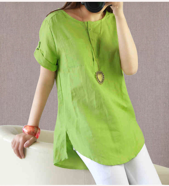 48d038c08ae 2016 Summer Women s Casual Linen Fabric Shirts Short sleeve O-neck solid  color Large size Loose Shirt Hot sale