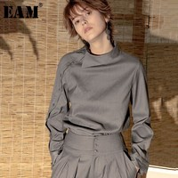 [EAM] High Quality 2019 Spring Summer Solid Color Long Sleeve Oblique Placket Turn down Collar Shirt Fashion New Women's LA986