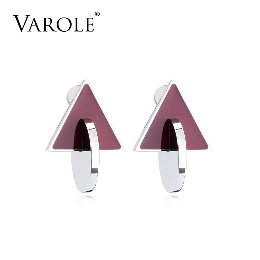 VAROLE Earrings Black & Dark Red Color Stud Earings Stainless Steel Earrings For Women Jewelry Oorbellen Brincos Feminino