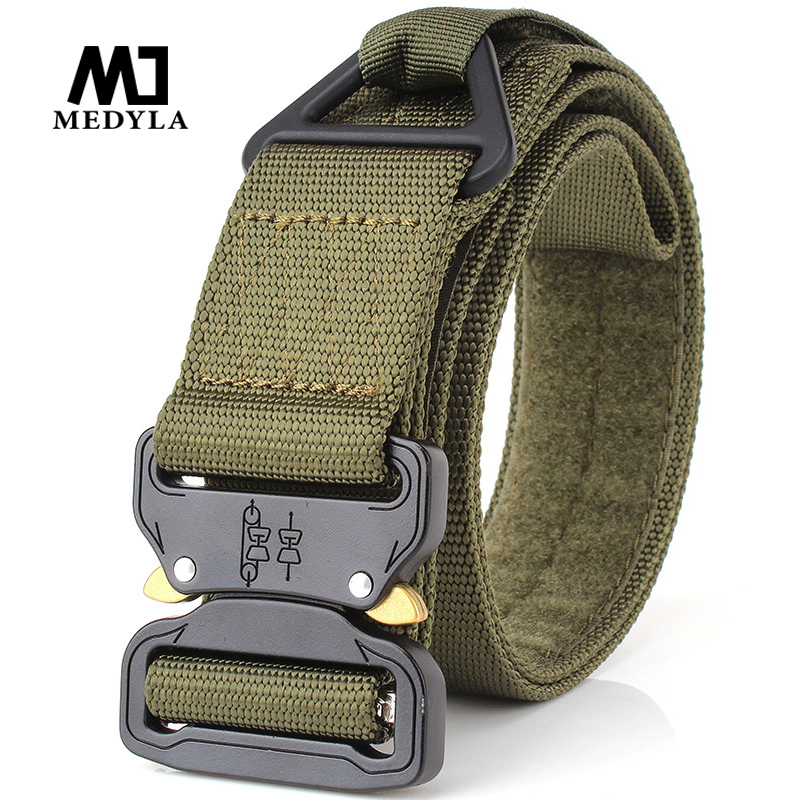MEDYLA Adjustable Men Tactical Belt Heavy Duty Waist Belt Nylon Military Tactical Belts With Metal Buckle Hunting Accessories
