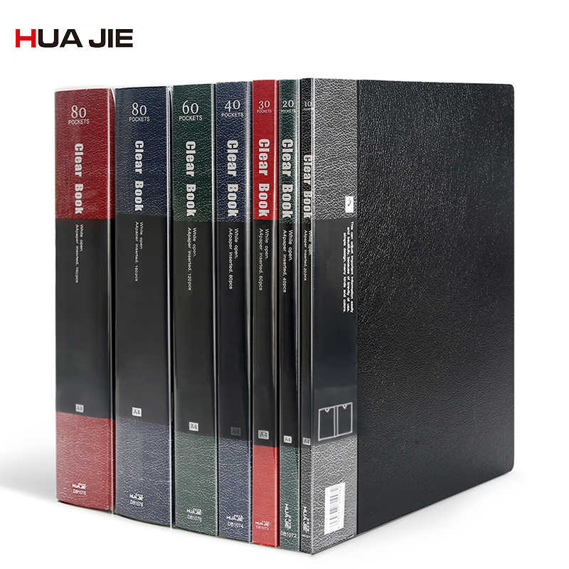 QSJY File Cabinets Document Display Folder a4 Black with 6 Panels and 12 Pockets Imitation Leather+PVC+Metal 3225CM