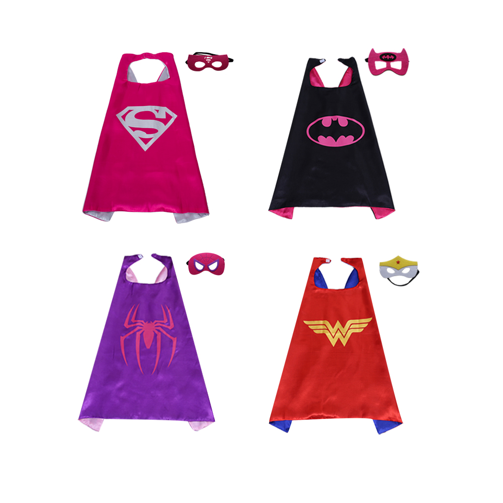 Magiczone 70*70cm Girls cosplay costumes Kids superhero capes and mask set Halloween Christmas Party favor gift capes 4sets/pack